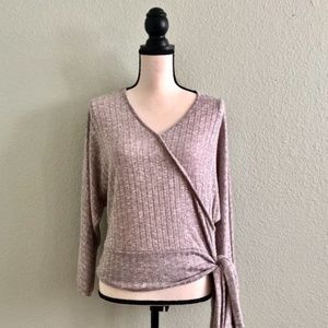 Ribbed Dolman Blouse with Wrap Detail and Tie EUC